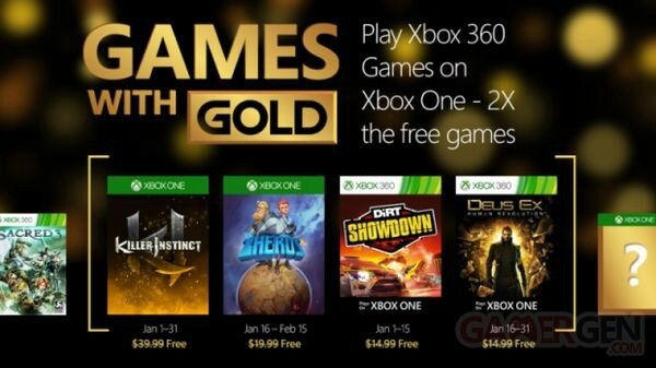 GAMES WITH GOLD JANVIER 2016