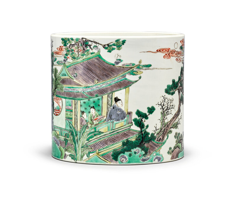 An extraordinary, fine and large inscribed famille-verte brushpot, Qing Dynasty, Kangxi Period (1662-1722)