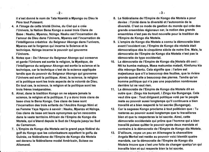 LE GRAND MAITRE MUANDA NSEMI PARLE DE LA DEMOCRATIE DANS L'EMPIRE DE KONGO DIA NTOTELA b