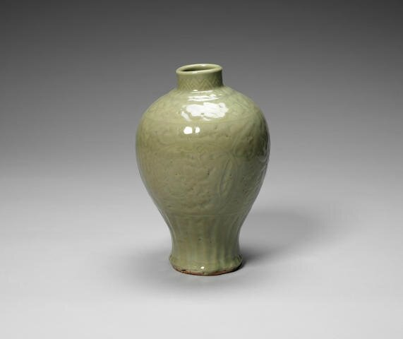 A celadon-glazed meiping, Early Ming Dynasty
