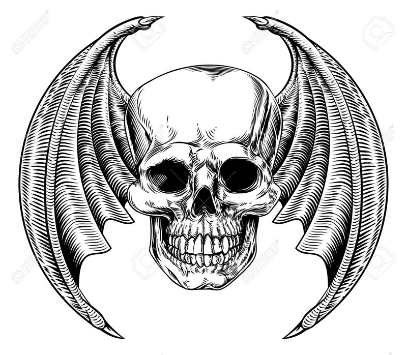 69835728-A-winged-skull-bat-or-dragon-wings-in-a-vintage-woodcut-etched-or-engraved-style-Stock-Vector