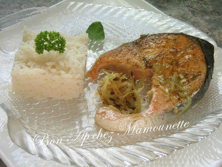Darne de saumon au colombo cuit sur la plancha et son riz nature 014
