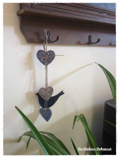 Déco céramique oiseau bleu 1