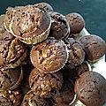 Muffins au chocolat cœur de noix du brésil pralinées