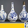 Suite de trois vases piriformes en porcelaine bleu blanc, Chine et Vietnam, Dynastie Qing et Dynastie Nguyen, Epoque XIXe siècle