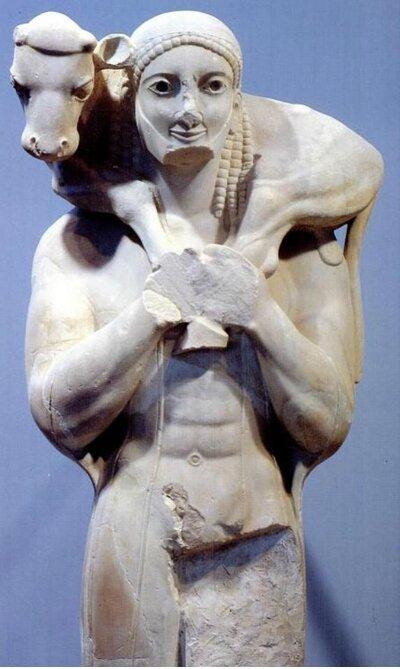 Moscophore, porteur de veau, 560 avt JC, musée d'Athène