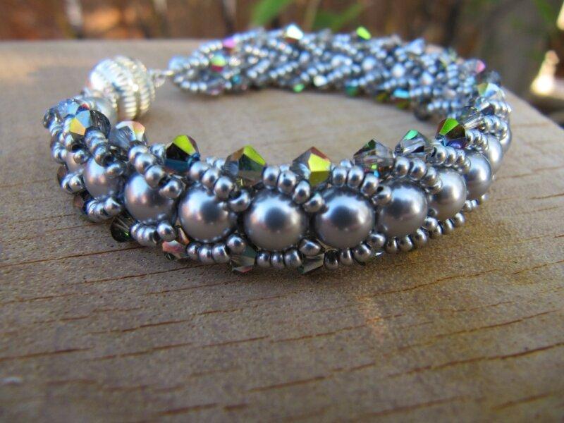 Bracelet flat spiral stitch argent