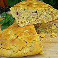 Gâteau de maïs-jambon-basilic