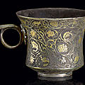 A rare small parcel-gilt silver cup & a small parcel-gilt silver box and cover, tang dynasty (618-907)