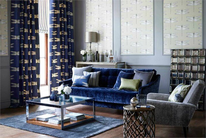 4-Harlequin-palmetto-fabric-dragonfly-curtains-blue-lliving-room