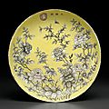 An unusual Dayazhai grisaille and pink enamel-decorated yellow-ground dish, Guangxu period (1875-1908)