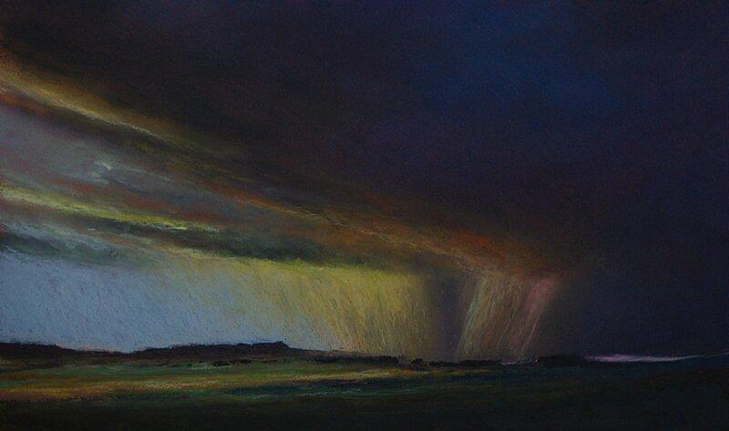 horizon elevation 55, fev 2016, pastel à l'huile, 48 x 32 cm