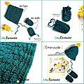 Baby Box Naissance - Bonnet Béguin Pompon + Moufles au Crochet - Vert Emeraude et moutarde - Vintage - Handmade in France - ©Little Curiosité (5)