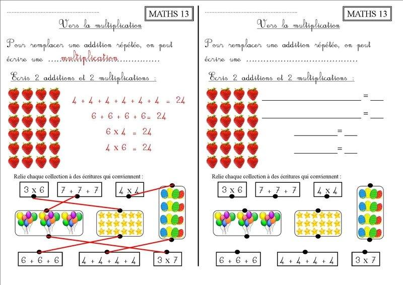 Maths 13 ce1 vers la multiplication la classe des ce de villebois - Exercice multiplication a imprimer ...