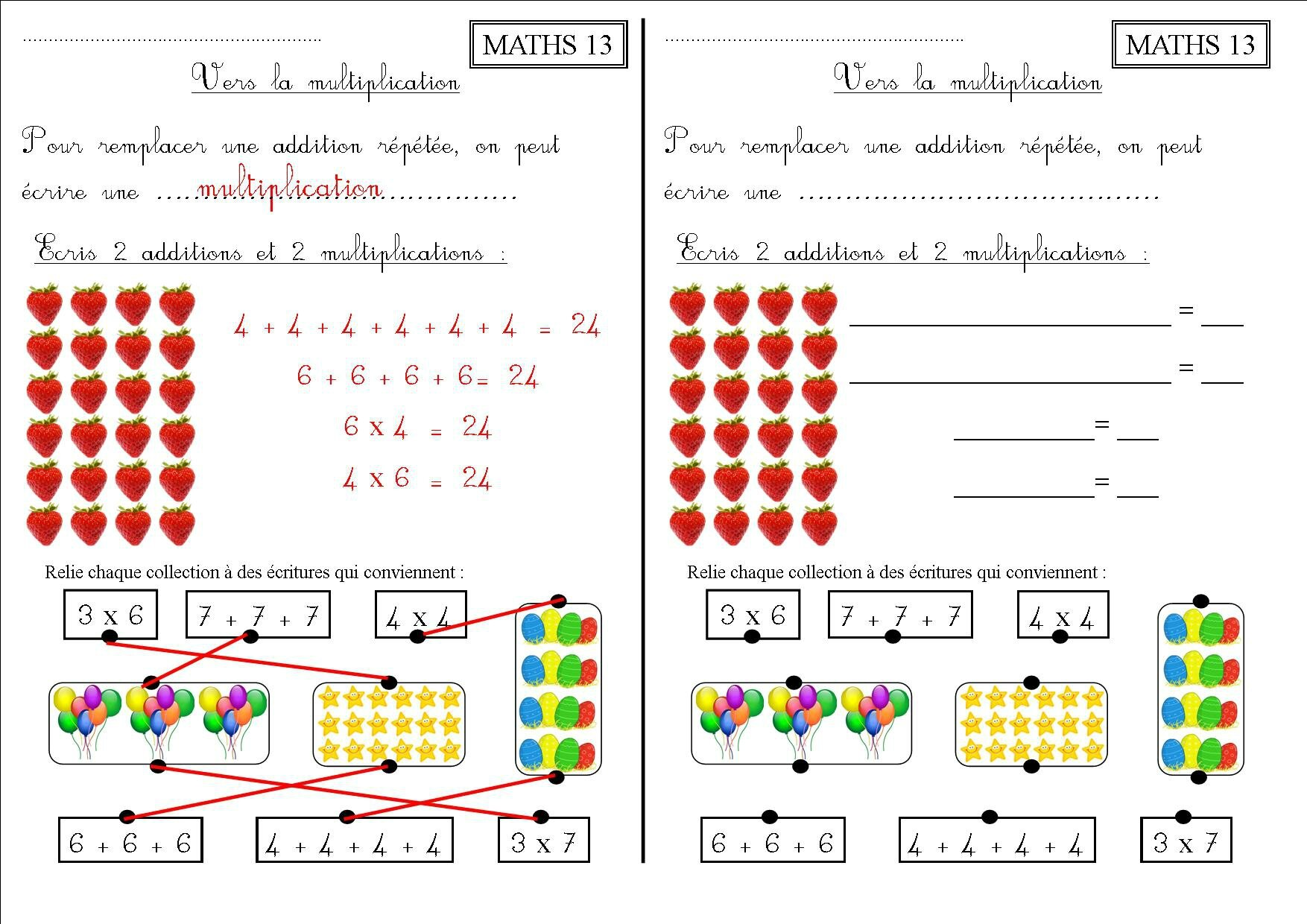 Maths 13 ce1 vers la multiplication la classe des ce de villebois - Exercices tables multiplication ...