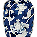 A white overlay blue glass vase, 19th century