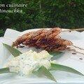 Sucré chez le salé #5 : raîta d'ananas à l'indienne et ses brochettes de crevettes à la japonaise