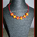 Collier et sautoir orange et rouge