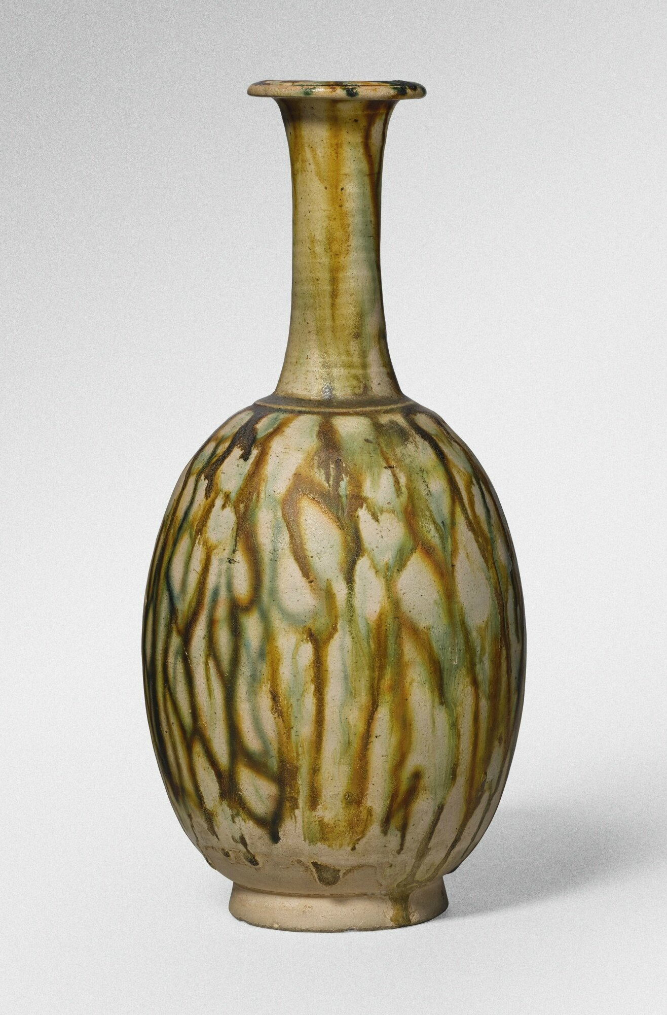A sancai-glazed pottery, bottle vase, Tang dynasty