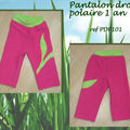 Pantalon droit - polaire fille rose - 1 an