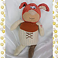 doudou_peluche_chien_simpleton_orange_marron_rayures_beige_ecru_