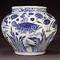 A rare Yuan blue and white baluster 'fish' jar, guan, circa 1350