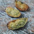 Moules gratinées au grana padano