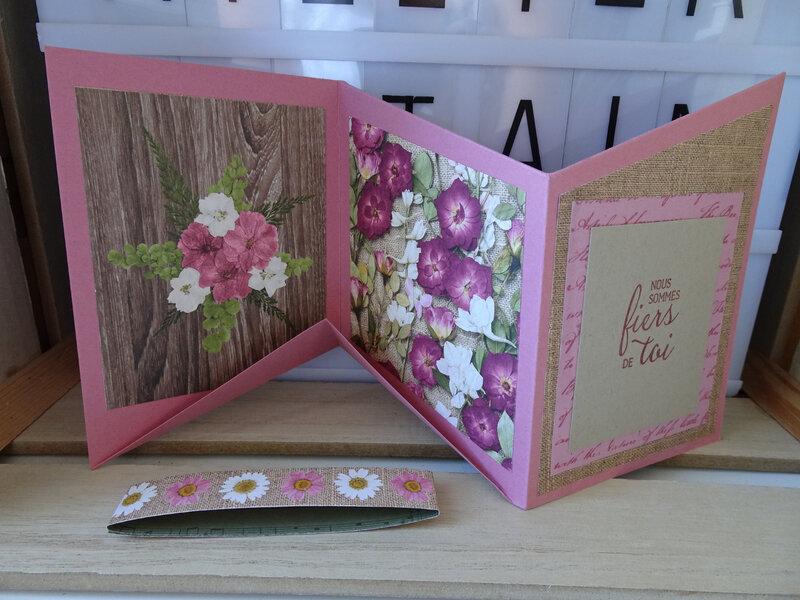 29c Carte 3 Volets en pliage Fleurs séchées