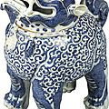 A rare blue and white 'luduan' censer and cover, Ming dynasty, Wanli period (1573-1620)