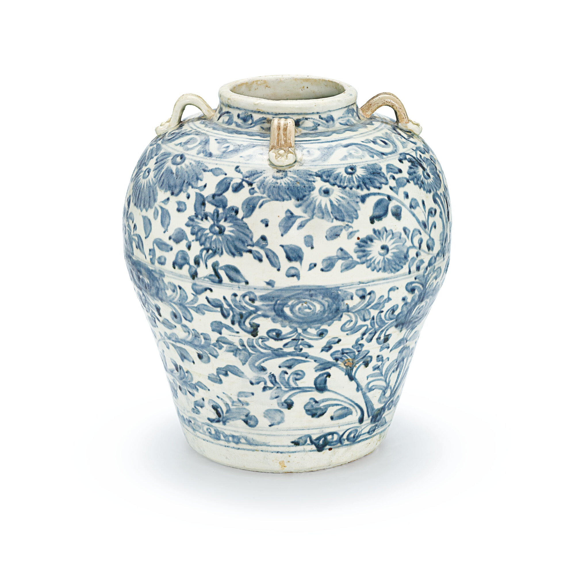 A large blue and white 'floral' handled jar, probably Vietnam, 15th century