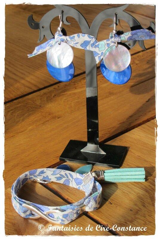 Parure Bo nacres bracelet Infini d'Anjo bleu-1