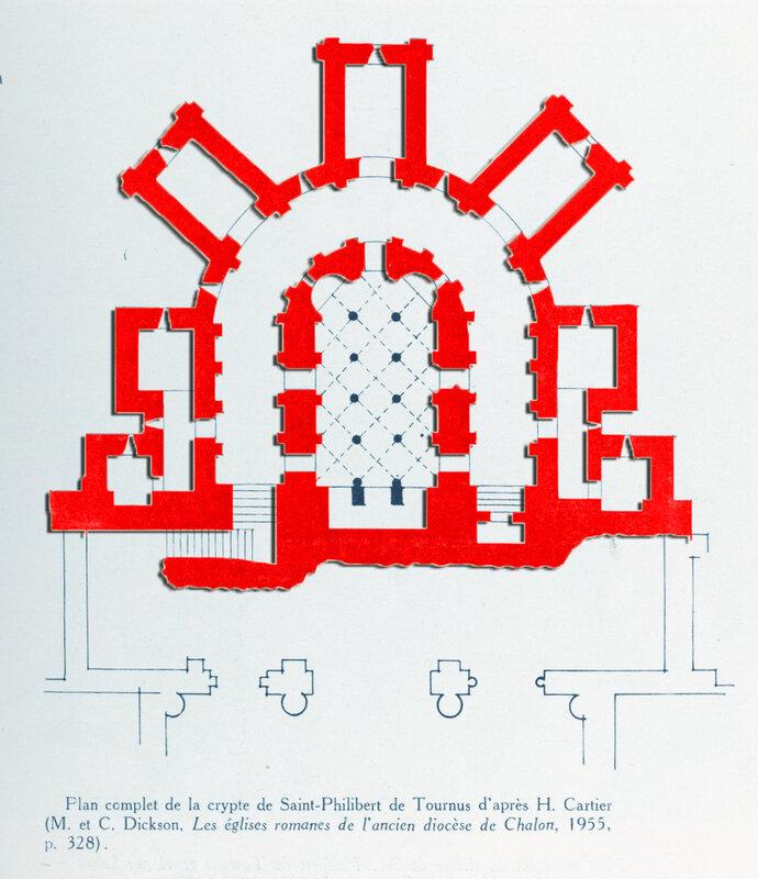 Plan crypte de Saint Philibert de Tournus