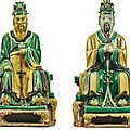 Two sancai-glazed daoist figures, ming dynasty (1368-1644)