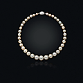 A natural pearl and diamond necklace, cartier