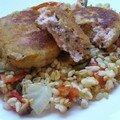 Côtelettes de saumon à la mode pojarski sur blé confit aux légumes