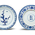 A pair of small blue and white dishes, late Ming dynasty, circa 1625
