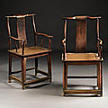 A fine pair of huanghuali yokeback armchairs, shichutouguanmaoyi, late ming-early qing dynasty, 17th century