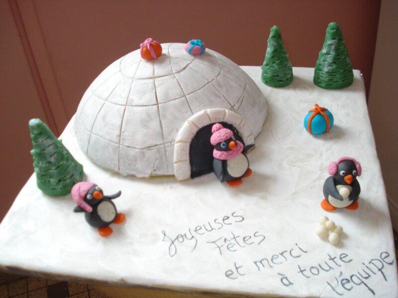 Gâteau igloo et pingouins