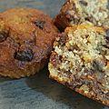 Muffins bananes, flocons d'avoine et pépites de chocolat
