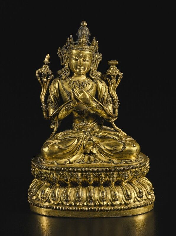 An exceptional gilt-bronze figure of Manjushri, Yongle mark and period