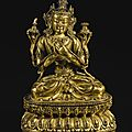 An exceptional gilt-bronze figure of manjushri, yongle mark and period (1403-1424)