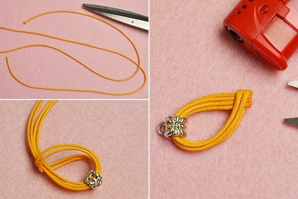 Easy Earrings Design – How to Make a Pair of Gemstone Dangle Earrings with Orange Cords (7)