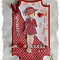 Carte scrappé : r comme robe rouge