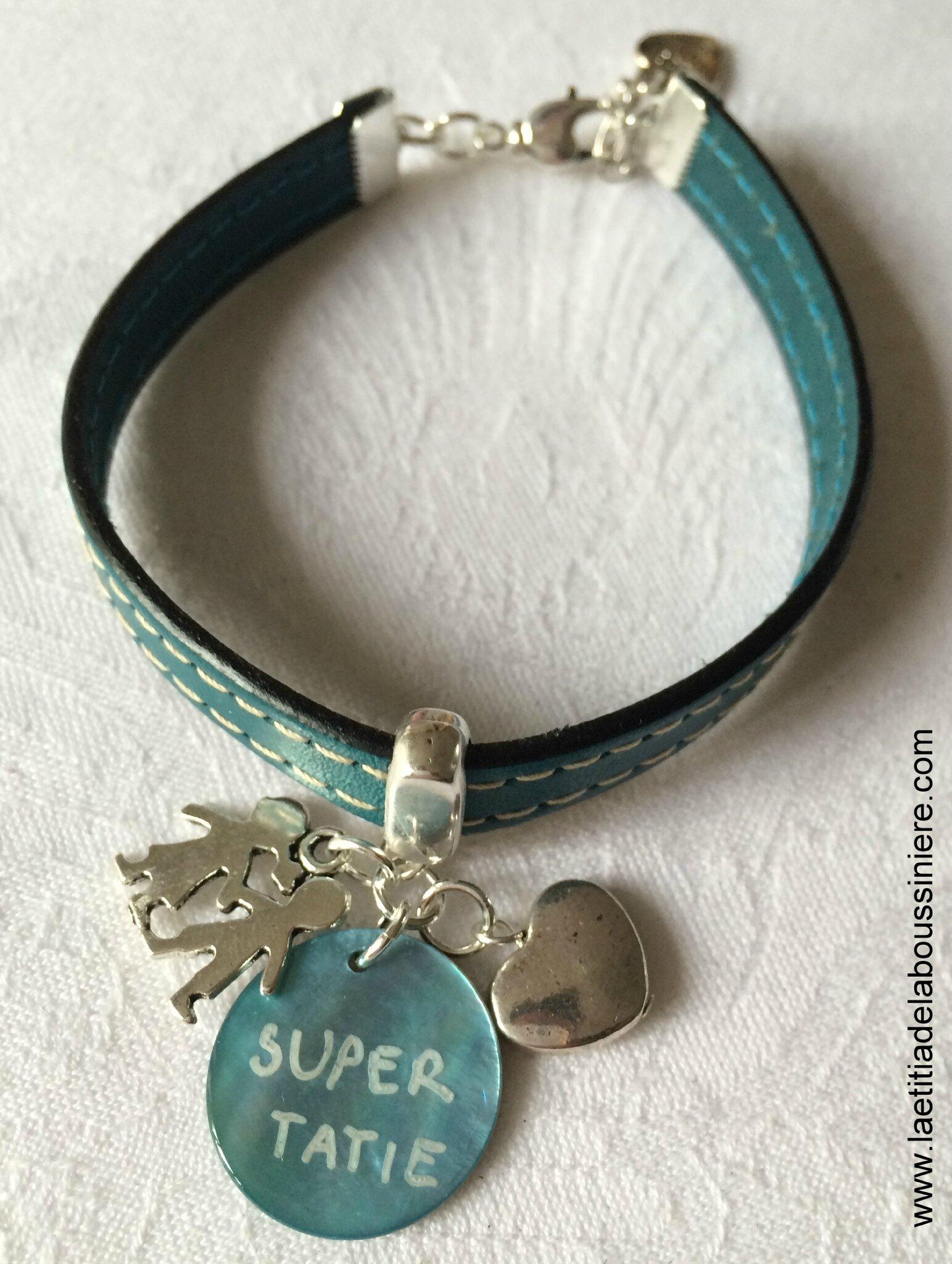Bracelet en cuir Super Tatie (turquoise) - 22 €