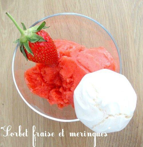 sorbet fraises et meringue