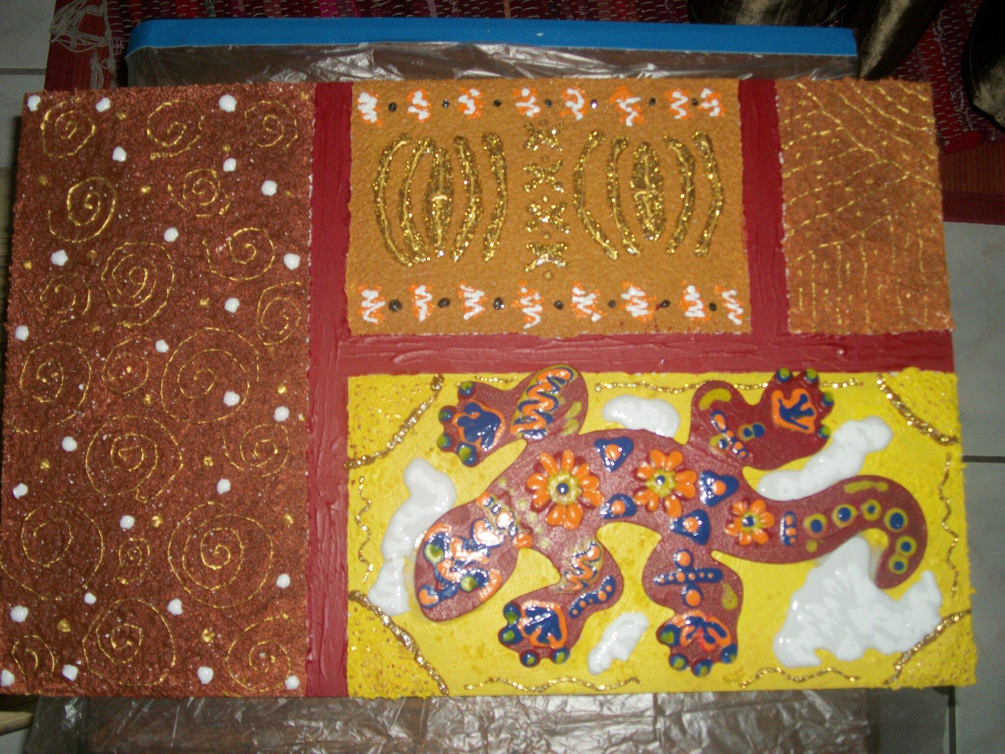 Peinture Sur Support En Bois La Salamandre Les Pots A Pat