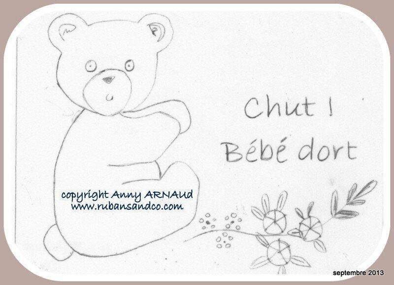 Dessin De Broderie Un Ourson Pour Un Bebe Qui Dort Rubans Et Compagnie By Anny Arnaud