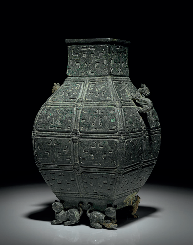 A rare bronze ritual faceted wine vessel, fanghu, early Warring States period, 5th century BC
