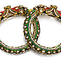 A pair of gem-set and enamelled bracelets (kara), north india, rajasthan, mid-19th century