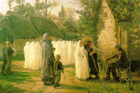 Breton Jules Adolphe (1827 – 1906) Les Communiants Premiere Communion 1884